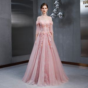 Elegant Pearl Pink Evening Dresses  2020 A-Line / Princess Off-The-Shoulder Spaghetti Straps 3/4 Sleeve Appliques Lace Sequins Flower Floor-Length / Long Ruffle Backless Formal Dresses