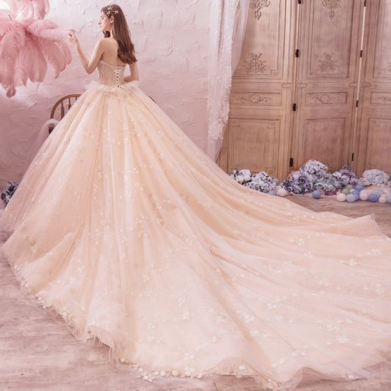 Romantic Champagne Wedding Dresses 2019 Ball Gown Sweetheart Sleeveless Backless Appliques Lace Beading Rhinestone Glitter Tulle Cathedral Train Ruffle