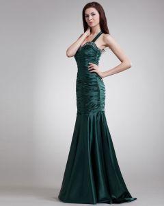 Shoulder Straps Floor Length Pleated Beading Charmeuse Evening Dress
