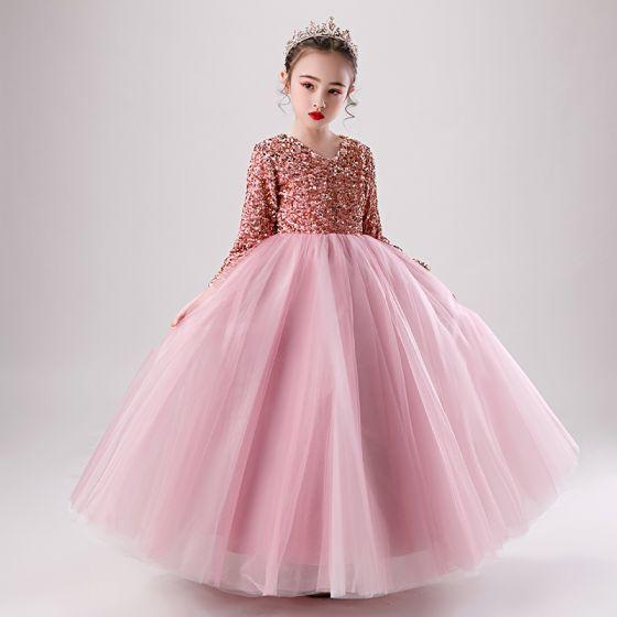 Schöne Pink Winter Geburtstag Blumenmädchenkleider 2020 Ballkleid V-Ausschnitt Lange Ärmel Rose Gold Pailletten Lange Rüschen