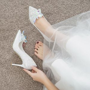 Sparkly Charming Ivory Cinderella Crystal Wedding Shoes 2020 Sequins 7 cm Stiletto Heels Pointed Toe Wedding Pumps