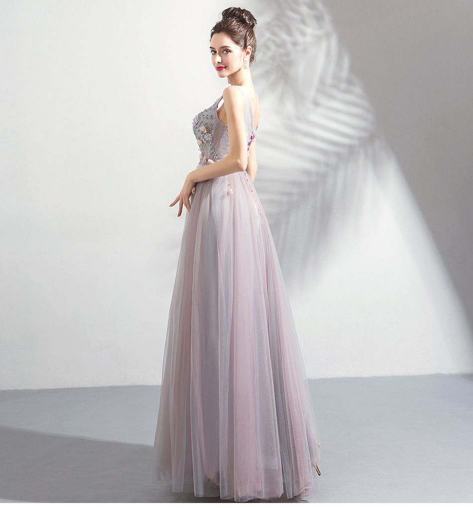Elegant Blushing Pink Prom Dresses 2019 A-Line / Princess V-Neck Beading Pearl Crystal Appliques Sleeveless Backless Floor-Length / Long Formal Dresses