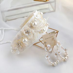 Vintage / Retro Champagne Headbands Earrings Bridal Jewelry 2020 Pearl Lace-up Headpieces Wedding Accessories