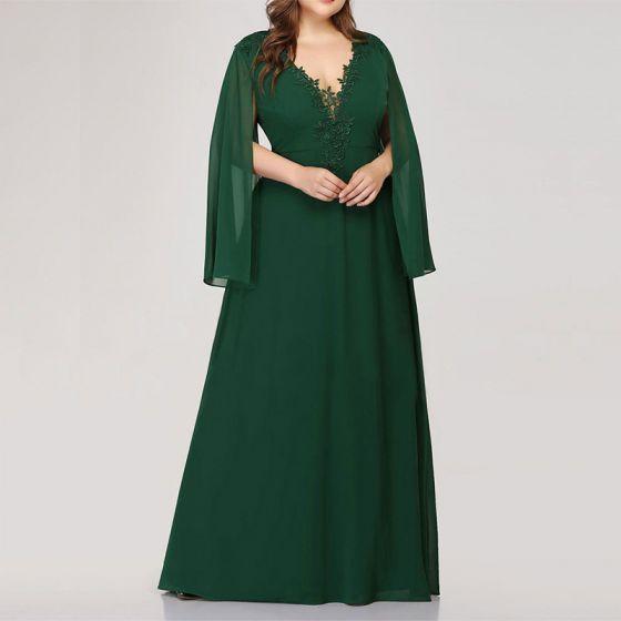 Schöne Grün Übergröße Abendkleider 2020 A Linie V-Ausschnitt Tülle Lange Lange Ärmel Handgefertigt 3D Spitze Einfarbig Abend Sommer Festliche Kleider