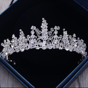 Glittrande Silver Metall Tiara 2018 Kristall Rhinestone Bröllop Tillbehör