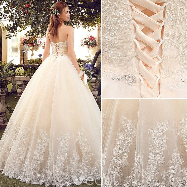 Champagne Ball Gown Wedding Dresses: Simple Champagne Wedding Dresses 2017 Sweetheart Applique