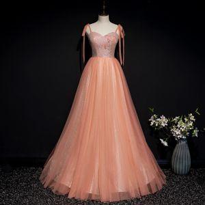 Chic / Belle Orange Corset Robe De Bal 2020 Princesse Bretelles Spaghetti Sans Manches Appliques Fleur Perlage Glitter Tulle Longue Volants Dos Nu Robe De Ceremonie