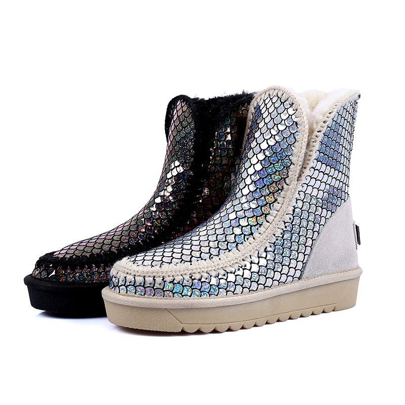 mode schneestiefel 2017 drucken pailletten leder ankle boots freizeit winter flache stiefel damen. Black Bedroom Furniture Sets. Home Design Ideas