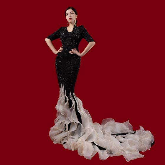 Luxe Noire Tapis rouge Robe De Soirée 2021 Trompette / Sirène V-Cou 1/2 Manches Perlage Faux Diamant Tribunal Train Volants Robe De Ceremonie
