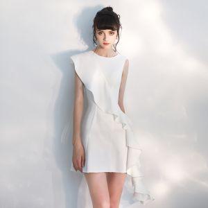 Mode Ivory Festkjoler 2020 Prinsesse Scoop Neck Ærmeløs Korte Kjoler