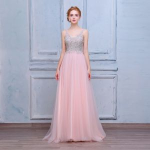 Elegant Blushing Pink Prom Dresses 2018 A-Line / Princess Beading Sequins Crystal Pearl V-Neck Backless Sleeveless Floor-Length / Long Formal Dresses