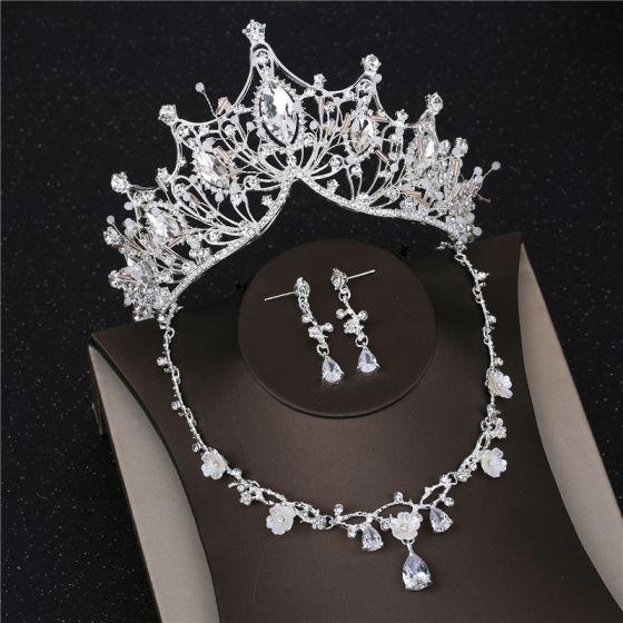Piękne Srebrny Biżuteria Ślubna 2019 Metal Rhinestone Frezowanie Kolczyki Naszyjnik Tiara Ślub Akcesoria