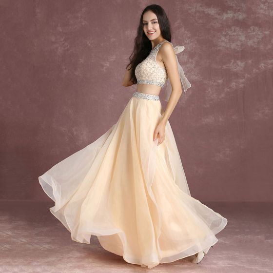 Bling Bling 2 Piece Nude Prom Dresses 2017 A-Line / Princess Scoop Neck Sleeveless Ruffle Organza Beading Sequins Floor-Length / Long Formal Dresses