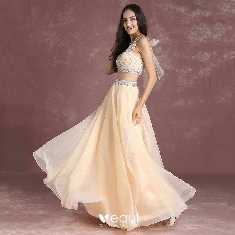 46fb911370521 Bling Bling 2 Piece Nude Prom Dresses 2017 A-Line / Princess Scoop ...
