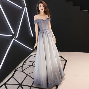 Bling Bling Grey Evening Dresses  2019 A-Line / Princess Off-The-Shoulder Short Sleeve Sash Glitter Polyester Floor-Length / Long Ruffle Backless Formal Dresses