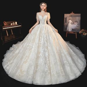 Victorian Style Ivory Bridal Wedding Dresses 2020 Ball Gown See-through High Neck Puffy Short Sleeve Backless Appliques Lace Beading Tassel Cathedral Train Ruffle