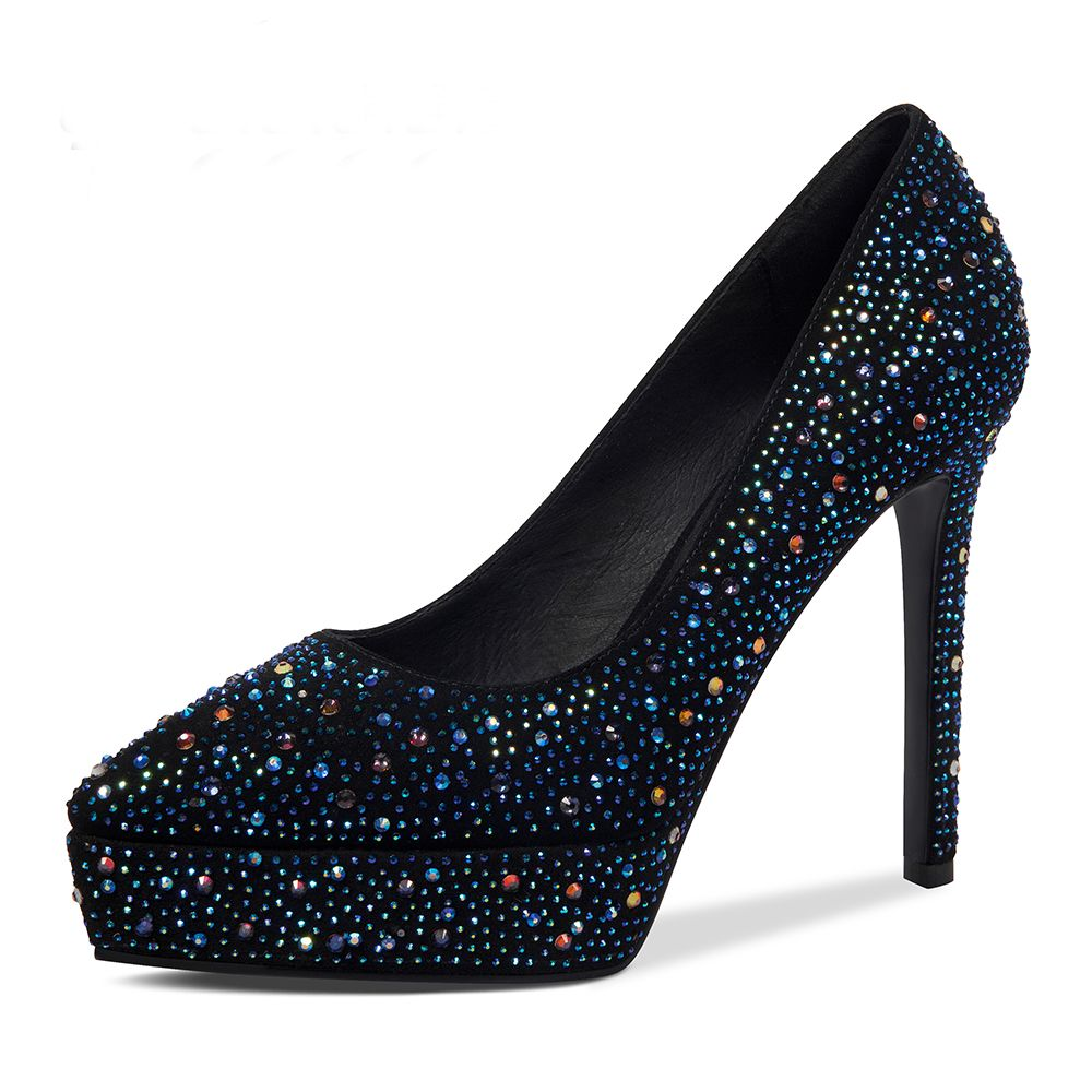 Chic / Beautiful Black Evening Party Pumps 2019 Leather Rhinestone 13 cm Stiletto Heels Pointed Toe Pumps