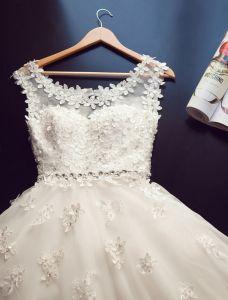 2015 Ballkleid Schulter Rundhalsausschnitt Czech Diamond Applikationen Spitze Hochzeitskleid