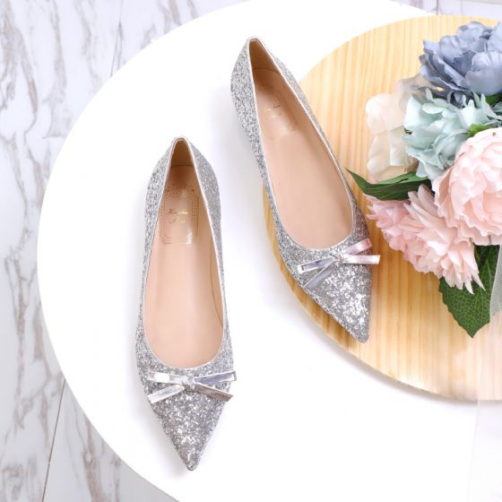 Sparkly Silver Glitter Wedding Shoes 2020 Sequins Bow Pointed Toe Flat