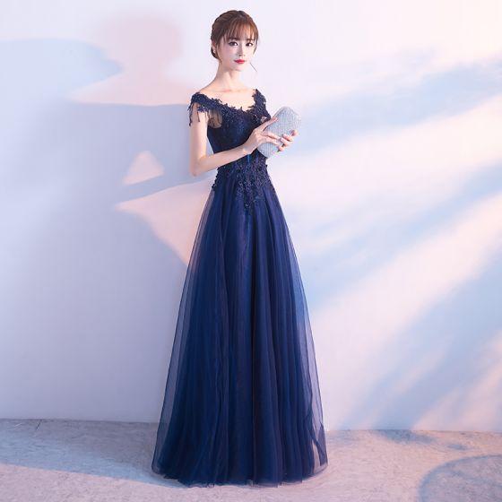 d6ae8850a05 Modern   Fashion Navy Blue Evening Dresses 2017 A-Line   Princess V-Neck  Sleeveless Appliques Lace Sequins ...