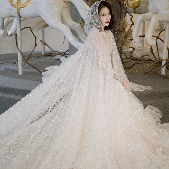 Sparkly Ivory Wedding Dresses With Cloak 2018 A-Line / Princess V-Neck Long Sleeve Backless Glitter Chapel Train Ruffle