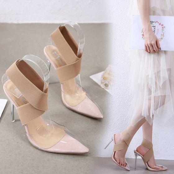 Sexy Beige Désinvolte Chaussures Femmes 2020 X-Strap 11 cm Talons Aiguilles À Bout Pointu Talons Hauts