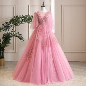 Mooie / Prachtige Candy Roze Galajurken 2019 A lijn Ronde Hals Kristal Parel Kant Bloem 3/4 Mouwen Lange Gelegenheid Jurken