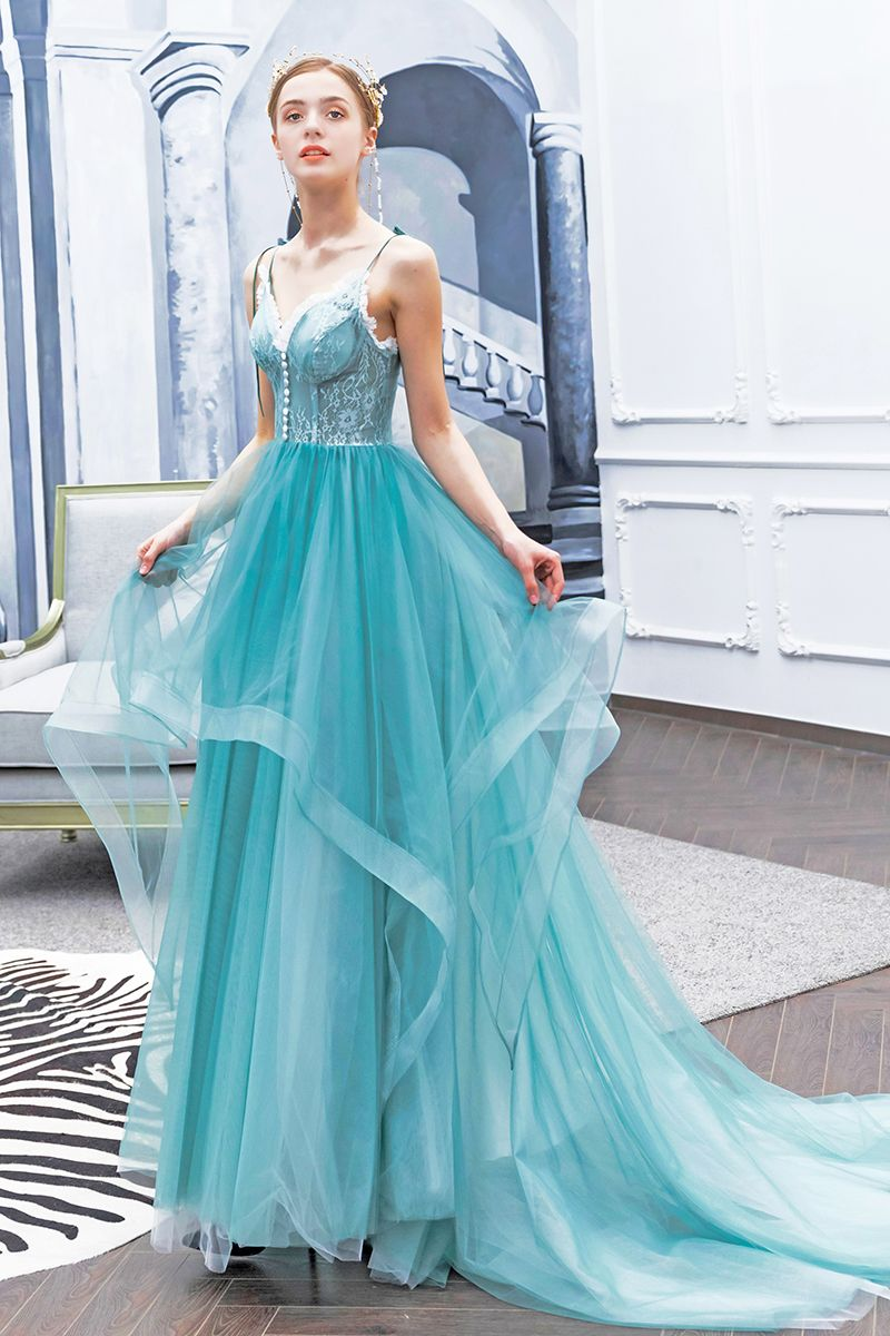 Charming Jade Green Prom Dresses 2019 A-Line / Princess Spaghetti Straps Bow Buttons Lace Flower Sleeveless Backless Sweep Train Formal Dresses