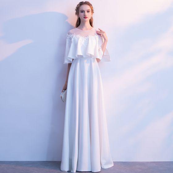 Elegant Elfenben Selskapskjoler 2019 Prinsesse Scoop Halsen Perle Appliques 1/2 Ermer Lange Formelle Kjoler