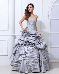 Ball Gown New Sleeveless Taffeta Flowers Embroidery Ruffles Applique Sweetheart Floor Length Quinceanera Prom Dresses