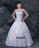 Satin Applique Sicke Rüschen Trägerlosen Sweep Bridal Ballkleid Brautkleid