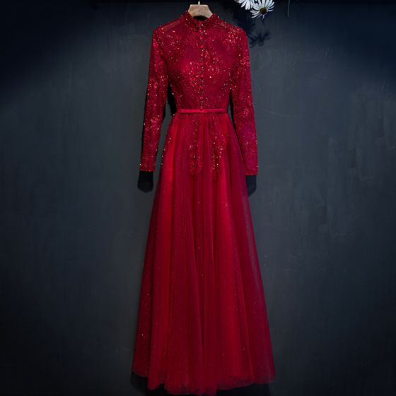Piękne Czerwone Sukienki Wizytowe 2017 Princessa Z Koronki Kwiat Frezowanie Wysokiej Szyi Długie Długie Rękawy Sukienki Wieczorowe