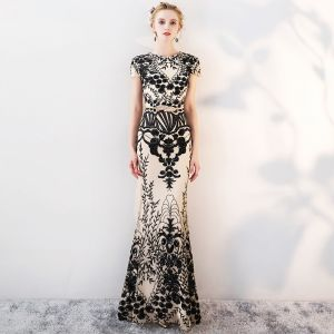 Sparkly Evening Dresses  2018 Trumpet / Mermaid Lace Sequins Metal Sash Scoop Neck Short Sleeve Ankle Length Formal Dresses