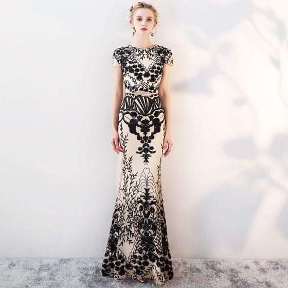 Sparkly Evening Dresses  2018 Trumpet / Mermaid Lace Sequins Metal Sash Scoop Neck Short Sleeve Ankle Length Formal Dresses