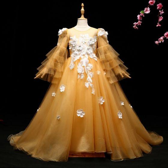 Schöne Gelb Mädchenkleider 2017 A Linie Applikationen Rundhalsausschnitt Lange Ärmel Sweep / Pinsel Zug Kleider Für Hochzeit