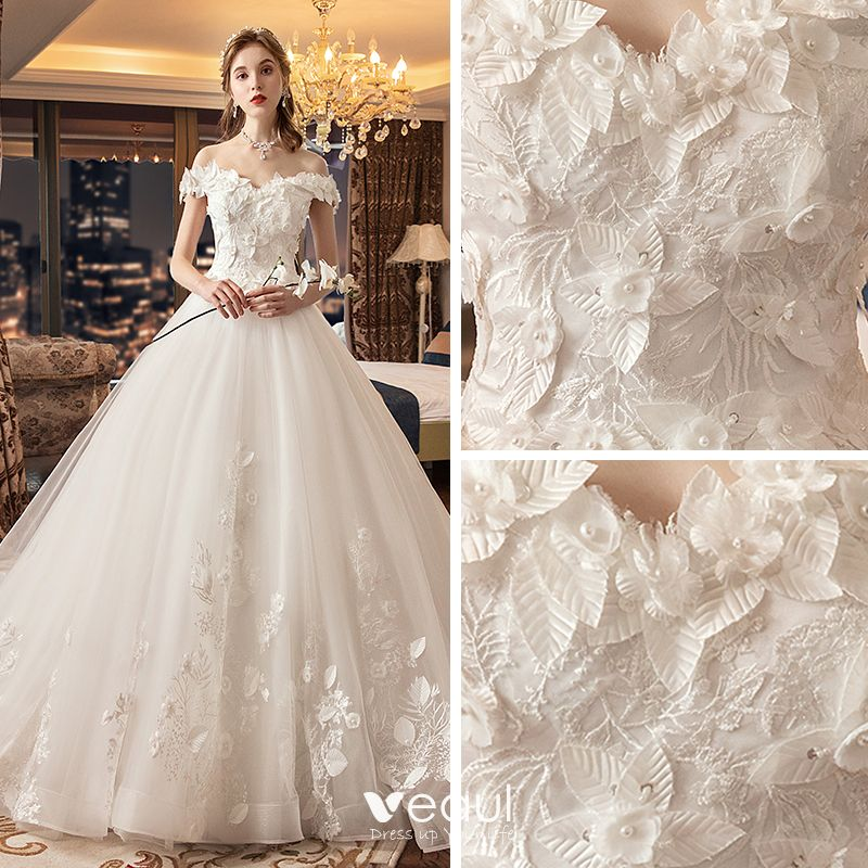Chic / Beautiful Ivory Wedding Dresses 2019 A-Line / Princess Off-The-Shoulder Short Sleeve Backless Appliques Flower Pearl Chapel Train Ruffle