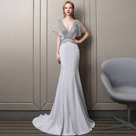 Luxury / Gorgeous Grape Handmade  Beading Evening Dresses  2019 Trumpet / Mermaid V-Neck Crystal Sequins Tassel Short Sleeve Backless Court Train Formal Dresses