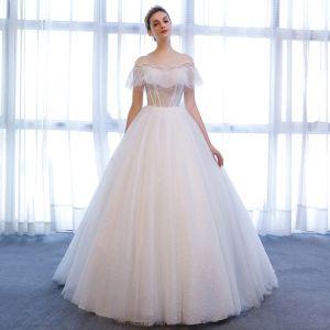 Chic / Beautiful White Wedding Dresses 2018 A-Line / Princess Star Crystal Scoop Neck Backless Short Sleeve Chapel Train Wedding