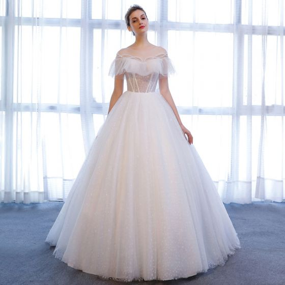 Chic Beautiful White Wedding Dresses 2018 A Line Princess Star Crystal Scoop Neck Backless Short Sleeve Chapel Train