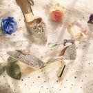 Charming Silver Bridesmaid Wedding High Heels 2019 Ankle Strap Sequins Rhinestone 8 cm Stiletto Heels Pointed Toe Wedding Shoes