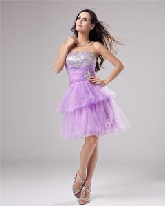 Beaded Ruffle Yarn Sweetheart Thigh Length Graduation Dress
