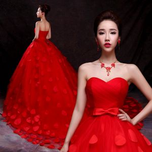 Charming Red Wedding Dresses 2019 Ball Gown Sweetheart Appliques Bow Sleeveless Backless Cathedral Train