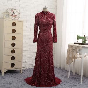 Amazing / Unique Burgundy Evening Dresses  2017 Trumpet / Mermaid Beading High Neck Backless Long Sleeve Sweep Train Evening Party