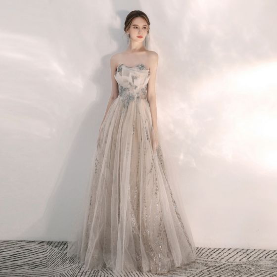Classy Champagne Evening Dresses  2020 A-Line / Princess Sweetheart Sleeveless Appliques Beading Sequins Glitter Tulle Floor-Length / Long Ruffle Backless Formal Dresses