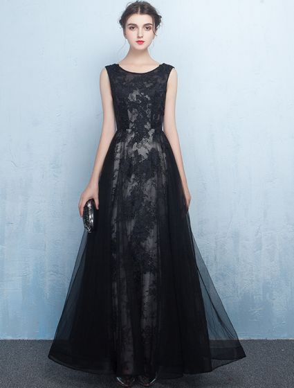 Scoop Neckline Applique Lace Black Long Tulle Evening Dresses 2017