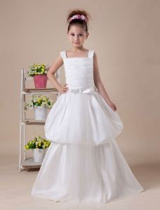 Ivory A-line Square Satin Tea Length Flower Girl Dress