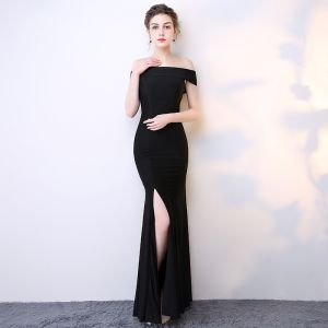 Chic / Belle Noir Robe De Soirée 2017 Trompette / Sirène Longue De l'épaule Manches Courtes Dos Nu Fendue devant Robe De Ceremonie