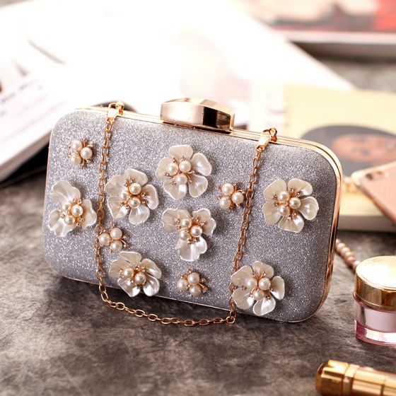 Chic / Beautiful Silver Flower Pearl Rhinestone Glitter Metal Clutch Bags 2018