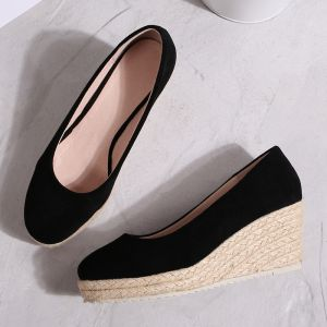 Modest / Simple Black Casual Braid Womens Shoes 2020 Suede 7 cm Wedges Round Toe
