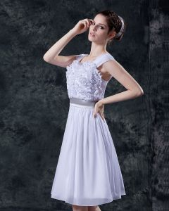 Sweetheart Sleeveless Satin Yarn Embroidery Flower Short Mini Wedding Dress